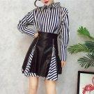 Newest 2017 2 Piece Set Fashion Fall Women Stripe Long Blouse Top And Zipper PU Skirt Suits Women Cl