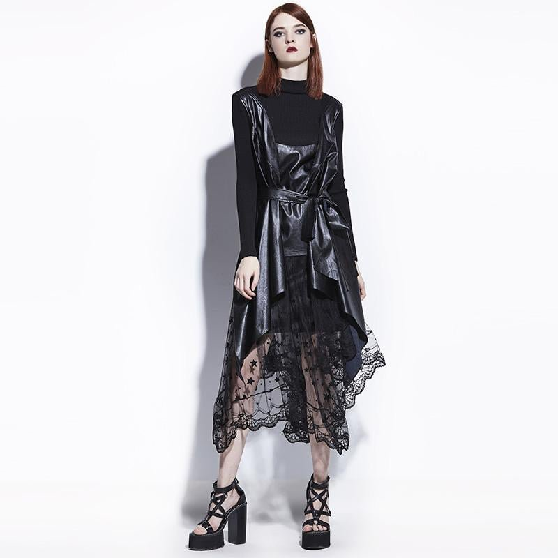 Young17 Gothic Coat Asymmetric Black PU Leather Fashion Women Fall Goth Overcoat Tops Not Include Sk
