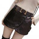 2017 New Women\'s Black Leather Shorts Skirts High Waist Skinny Buttons Side Zipper PU Shorts Plus S