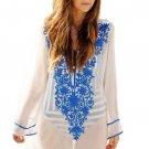 Deep V-neck Floral Embroidery Sheer Cotton Beachwear