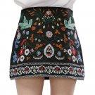 Spring Mini Cotton Floral Women Skirts Short Black Embroidered Boho Skirt High Waist Floral Vintage