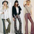 2015 Newly Hot Sale Boho Pants Bell Bottom Trousers Paisley Print Stretch Flare Boho Hippie Style Pa