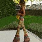 NEW Fashion Women Flare Print Pants Floral Retro Boho Pants Stretch High Waist Trousers
