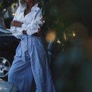 Blue Striped Tie Waist Culotte Pants Wide Leg Pants Scallop Hem Trousers With Belt 2017 Fall Mid Wai