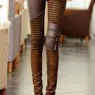 Women\' PU Leather Patchwork Jeans Pants Fashion Zippers Boots Trousers Pencil Pants Plus Size PT-02