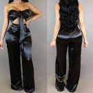 New 2017 Fashion Women Solid Color Lace Up Tube Top Crop Top High Waist Trouser Two Piece Set