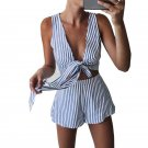Two Piece Set Blue Striped Playsuits Beach Casual Short Pants Jumpsuit Rompers Sexy Sleeveless V Nec