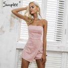 Simplee Strapless leather suede jumpsuit romper Women slim pink winter irregular short playsuit Eleg
