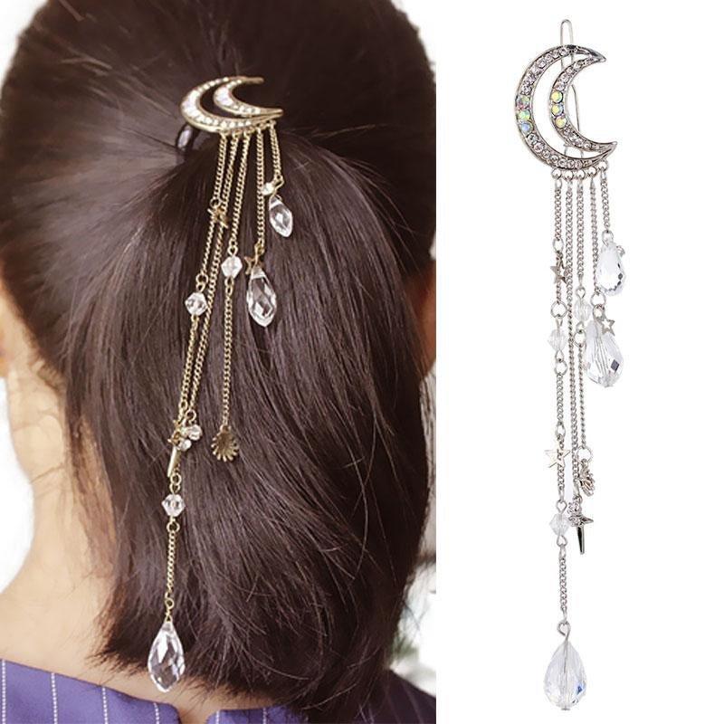 LNRRABC Golden Silvery Women Crystal Moon Long Tassels Hair Clips Charming Hair Accessories