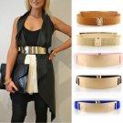 Elastic Mirror Golden Metal Waist Belt Metallic Bling Plate Wide Band For Women Ladies Accessories