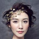 New Women Golden Leaves Frontlet Hair Accessories For Bride Wedding Headdress Vintage Leaf Hairband