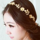 LNRRABC 1PC Cute Fashion Women Headbands Girls Hot Trendy Romantic Flower Leaves Golden Hair Band He