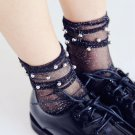 Fashion Women Glitter Mesh Ankle Socks Soft Comfortable Sock Silver Bead Gauze Fishnet Mesh socks Su