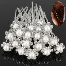 20Pcs Wedding Bridal Faux Pearl Rhinestone Flower Hair Stick Pins Clips Silver Color Jewelry