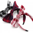 Metting Joura Bohemian Vintage Woolen Plaid Print Knotted Bow Headband Hairband Hair Accessories