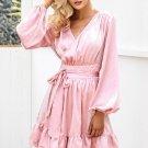 Satin deep v neck ruffle wrap dress Women bow belt lantern sleeve pink sexy dress robe Autumn winter