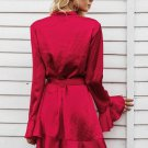 Elegant sashes v neck satin dress robe femme Irregularity ruffle sleeve autumn dress party Vintage w