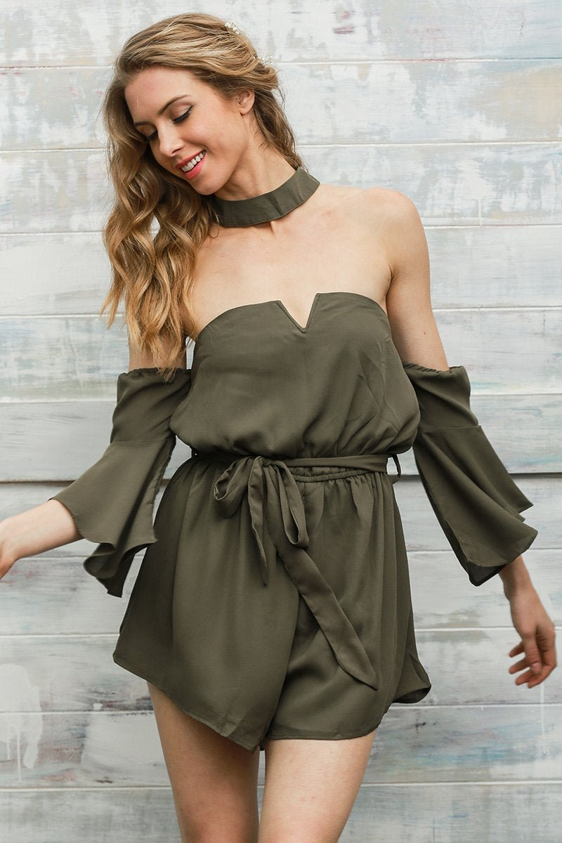 Sexy bustier chiffon black jumpsuit romper summer v neck pleated playsuit Halter backless flare slee