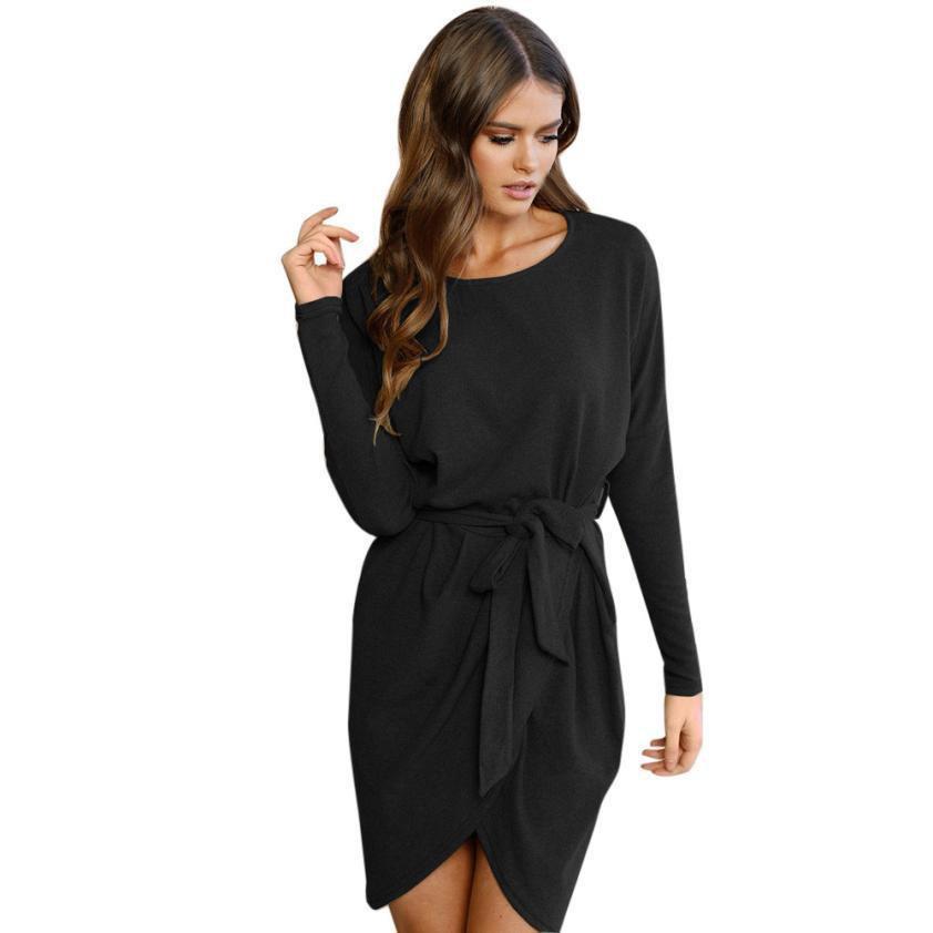 Autumn Bandage Dress Womens Ladies Long Sleeve Loose Standard Casual Solid Mini Belted Dress vestido