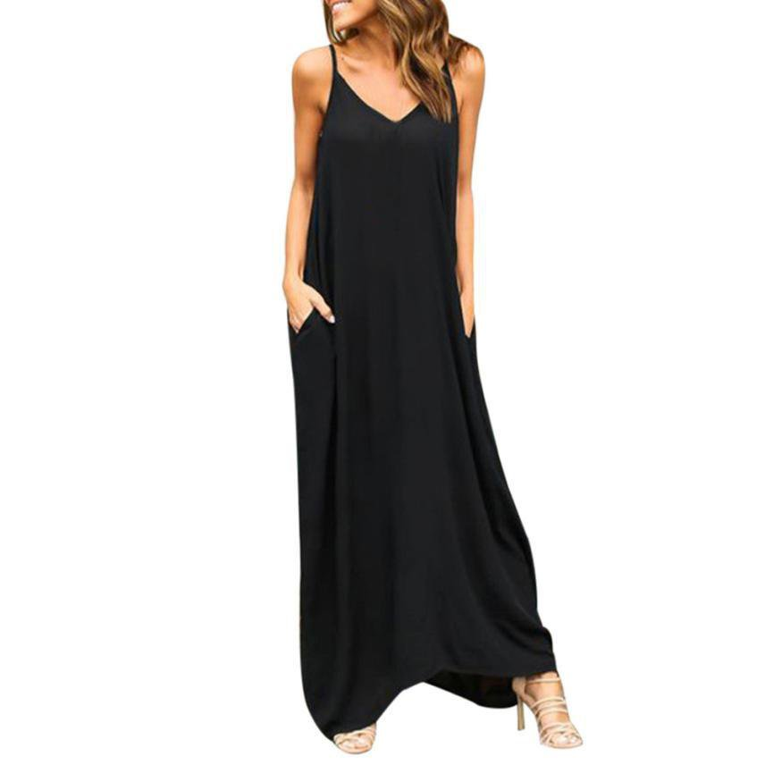Summer Bohemian Dress Womens Sleeveless Hippie Boho Party Beach PocKet Solid Long Maxi Dress Vestido