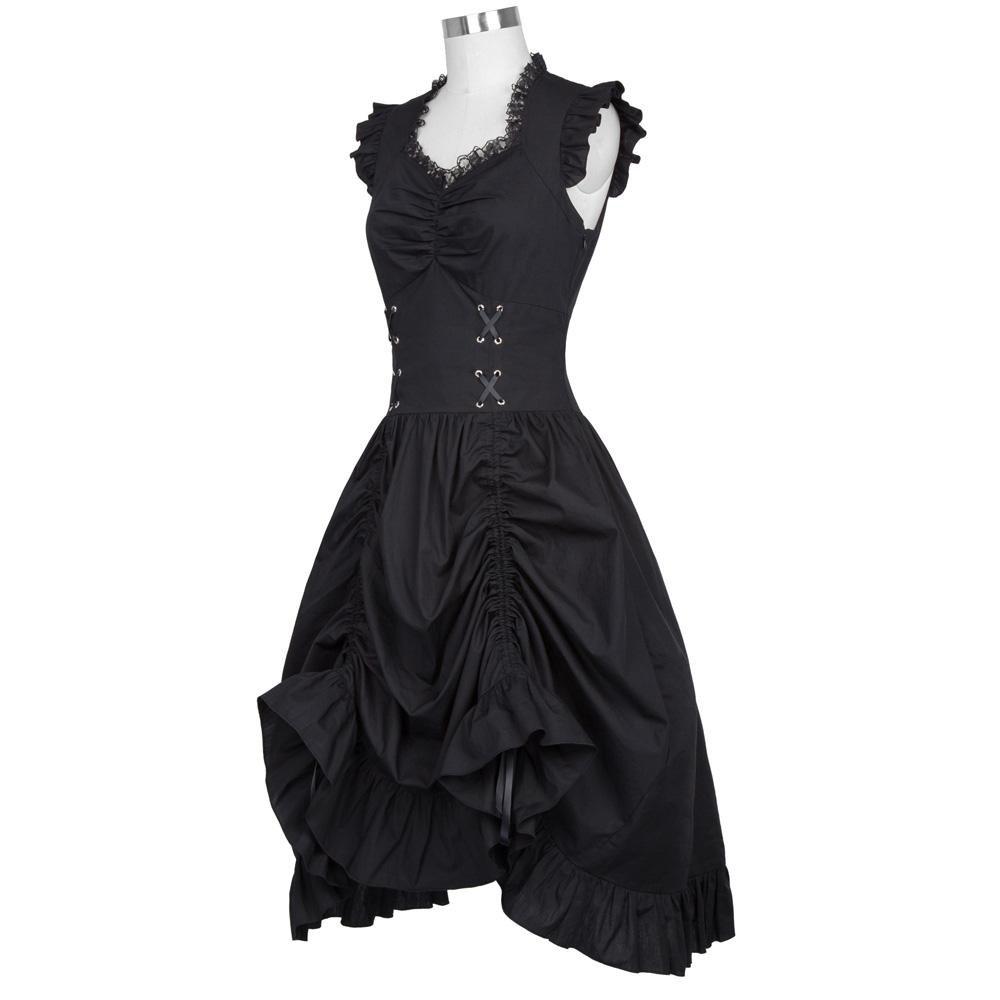 Medieval Dress  Cotton Lace Sleeveless V Neck Corset Ruffle Victorian Gothic Steampunk Vintage Chris