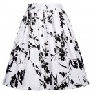 Skirts Womens Fashion Floral Print Pleated Retro Vintage 50s Skirts Pinup 60s Cotton Summer Rockabil