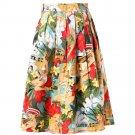 Ladies Woman Skirts  Women\'s Floral Print Vintage Retro Cotton Pleated Midi Skater Skirt Jupe Court