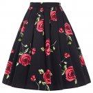 Skirts Jupe Women Flora Print Vintage Retro Cotton Pleated Skater Skirt Falda High Waist Midi Skirt