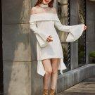 White Slash Neck Bell Sleeve Women\'s Day Dress