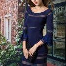 Patchwork Bell Sleeve Women\'s Sheath Dress