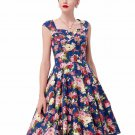 Women Spring Style 2017 New Arrival Elegant Retro Vestidos Casual Swing Robe Rockabilly Floral Print
