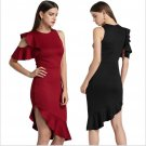 New Summer Fashion Women Knitted Casual ONeck Solid Color Dresses Sexy Party Irregular Slim Ruffles