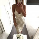 Sexy Party Night Dress Women V-neck Elegant Vintage Dresses Shinning Gold Sequined Flower Lace Dress
