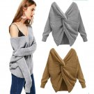 LOSSKY Spring Fashion Pullover Reversible Wear Sexy Women Sweater 2018 V Neck Backless Long Sleeve K