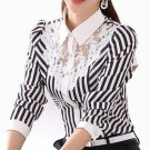Women Blouse Long Sleeve Lace Tops Striped Turn-Down Collar Blouses Official Female Formal Shirt Spr