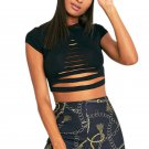 Short Sleeve Hole Short T Shirt White Black Pink Casual Women Bodycon Crop Top High Quality