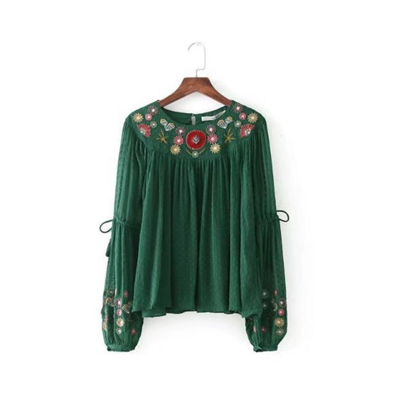 Women Elegant Noble Floral Embroidery Chiffon Shirts Long Lantern Sleeve O Neck Vintage Female Leisu