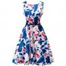women dresses fashion summer dresses round neck sleeveless sexy print casual dress retro ball gown o