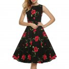 Summer Vintage Large Swing Dress Classic Printing Party Dress Casual Sleeveless Sexy Dress Fashion O