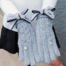 Fashion Girls Female Gloves Wool Knitted Winter Gloves Sweet bowknot Full Fingers Gloves Black Mitte