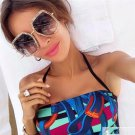 Hipster Polygon Square Sunglasses Women Brand Designer Fashion Mirror Gradient Ocean Lens Shades ocu