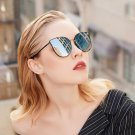 Oversized Cat Eye Retro Sunglasses Women Round Mirror Gold Rose Frame Flat Mirror Sun Woman Fashion