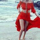 Summer Women Two piece set Beach Slash Neck Crop Long sleeve Top Skirt Sexy Hollow out Set Long Red