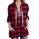 Spring Autumn Ladies Shirt Women Classic Fashion Plaid T-Shirt Bandage Loose Long Sleeve T-Shirt V-n
