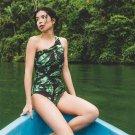 New 2018 Vintage Summer irregular Neck bodysuit Women One-Piece Push Up Green Tree leaf Mono Printed
