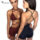FLYMALL Sexy Women Two Piece Sets Cross Bandage Bikini Crop Tops and Short Pants Set Ladies Backless