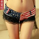 Stripe Hot Shorts Low Rise Waist Booty Short Lace Micro MINI Jeans Bikini Hot Jean Short Night Culb