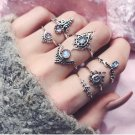 7pcs/Set Women Girl Bohemian Vintage Silver Stack Rings Above Knuckle Blue Rings Set 2017 New trend