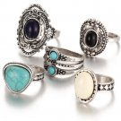 5 Pcs/Set Antique Silver Color Bohemian Midi Ring Set Vintage Steampunk Anillos Knuckle Rings For Wo