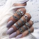 11pcs/Set Women Bohemian Vintage Silver Stack Rings Above Knuckle Blue Rings Set Totems 11 piece sui